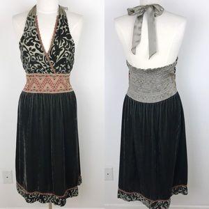 Hale Bob Velvet Halter Embroidered Dress Med